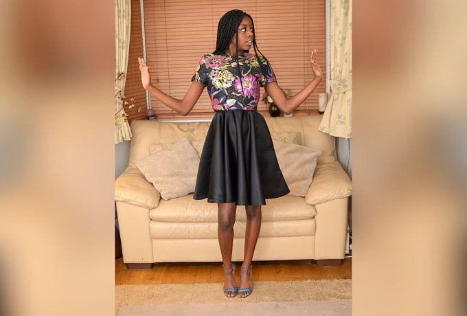Black Sateen Halter-Neck Dress with Overlay Top photo 0
