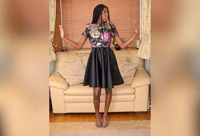 Black Sateen Halter-Neck Dress with Overlay Top