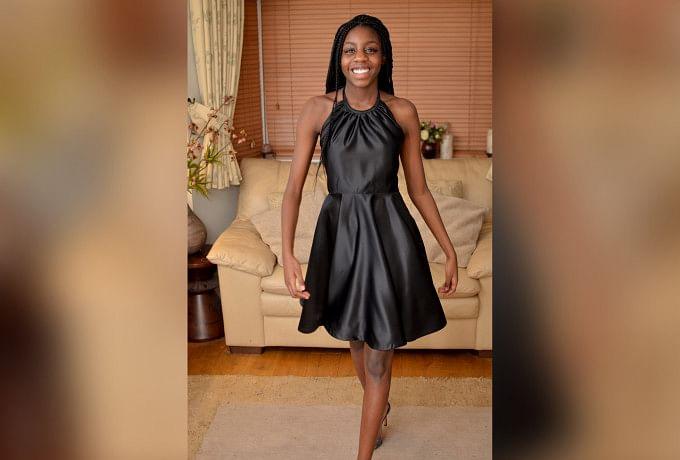 Black Sateen Halter-Neck Dress with Overlay Top photo 1