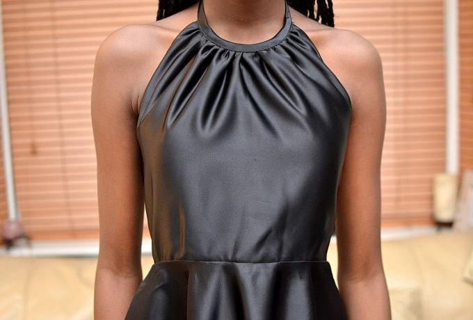Black Sateen Halter-Neck Dress with Overlay Top photo 3