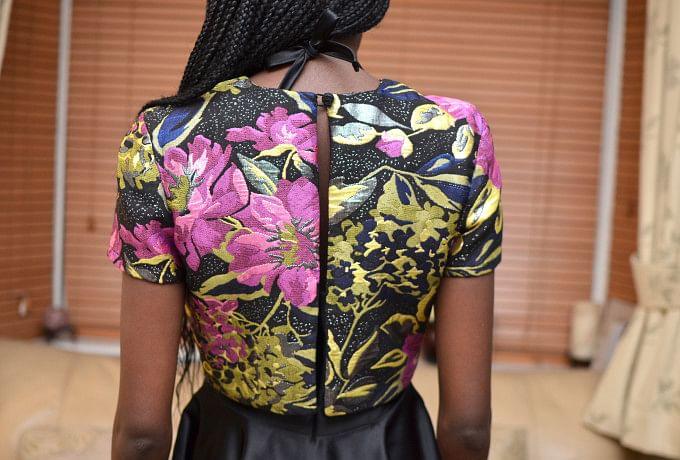 Black Sateen Halter-Neck Dress with Overlay Top photo 4